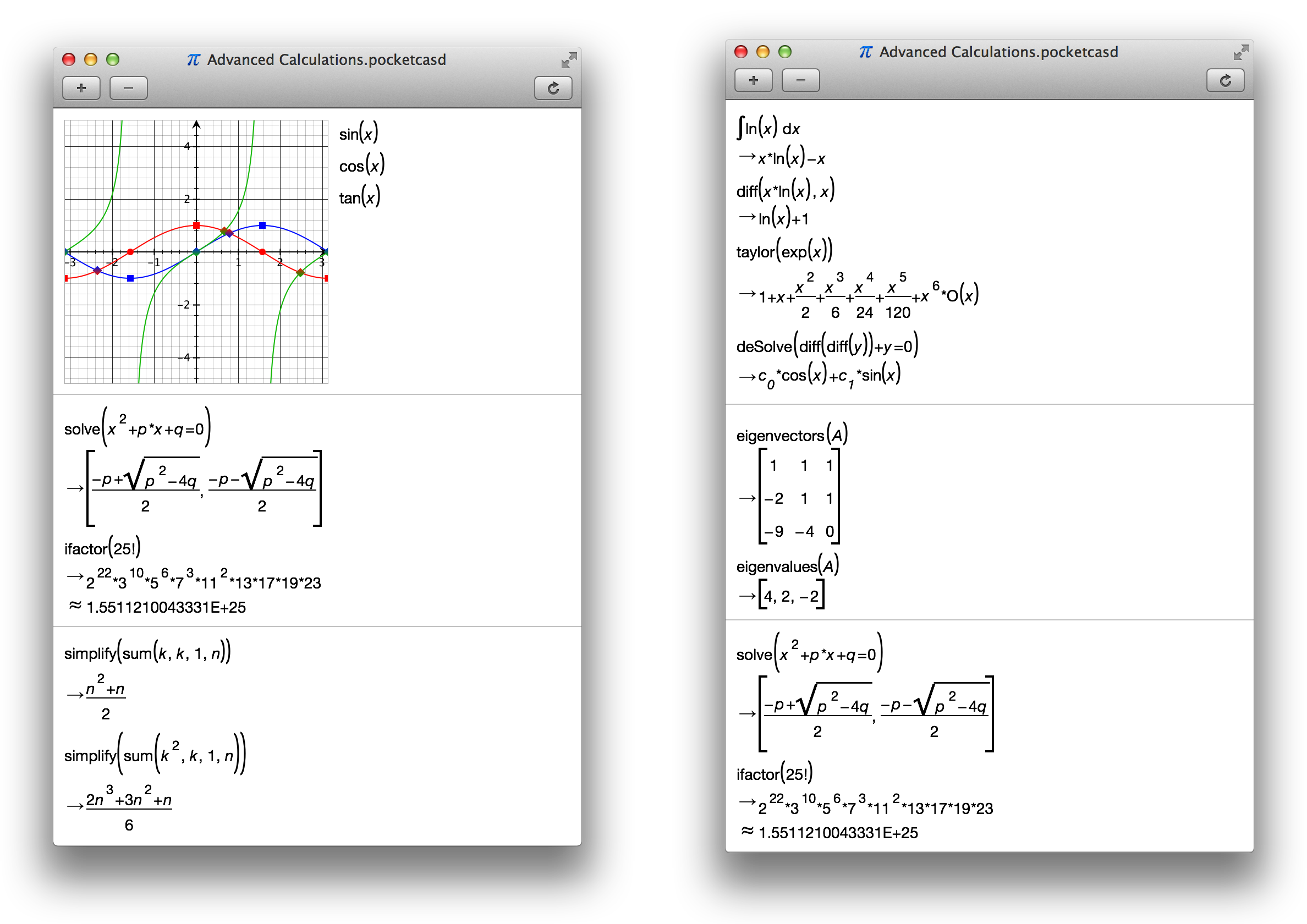 PocketCAS - Algebra and Graphing Calculator for iPhone, iPad and Mac