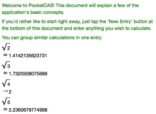 PocketCAS - Algebra and Graphing Calculator for iPhone, iPad